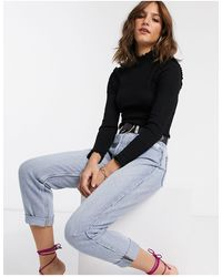 River Island Sweater With Lettuce Tipping - Black