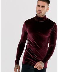 ASOS T-shirt long manches longues moulant en velours avec col roulé - Bordeaux - Rouge