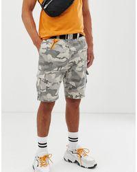 Bershka Slim Fit Denim Cargo Shorts - Grey