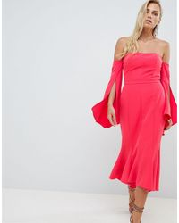 Forever New Bardot Midi Dress With Fishtail Hem - Red