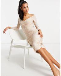 Club L London Платье-футляр Миди Со Сборками По Всей Поверхности И Вырезом Грибного Цвета -серый - Естественный