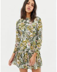 Love Long Sleve Printed Dress With Peplum - Green