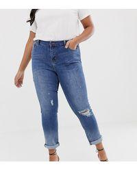 Simply Be Fern Boyfriend Jeans In Blue Wash