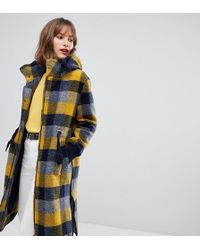 Esprit Hooded Coat In Yellow Check - Multicolor
