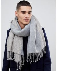 ASOS Blanket Scarf In Grey & Camel Houndstooth - Gray