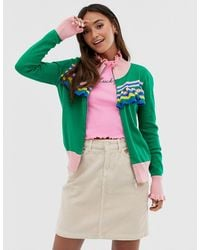 Glamorous Zip Front Jumper With Contrast Stripes And Frill Detail - Green