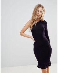 Oh My Love One Shoulder Pephem Bodycon Dress - Purple
