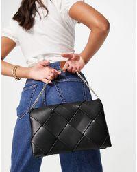 TOPSHOP Pochette grande con design intrecciato nera - Nero