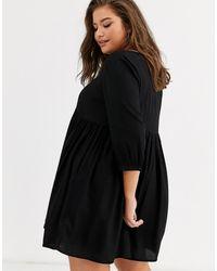 Simply Be V Neck Smock Dress - Black