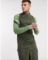 Nike Football Strike Drill - Top kaki con zip corta - Verde