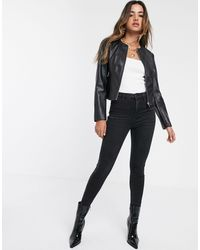 Stradivarius Faux Leather Collarless Biker Jacket - Black