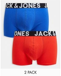 Jack & Jones 2 Pack Trunks With Bold Logo - Red