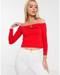 Calvin Klein Top à épaules découvertes avec logo - Rouge