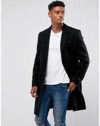 ASOS - Wool Mix Overcoat In Black - Lyst
