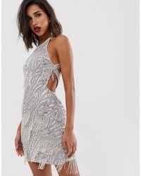 ASOS Sequin Fringe Cutout Mini Dress - Metallic