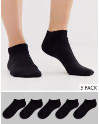 ASOS 5 Pack Trainer Socks - Black