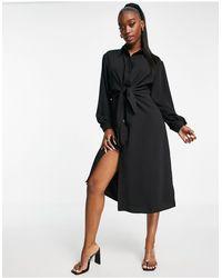 I Saw It First Woven Tie-front Midi Shirt Dress - Black