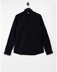 Twisted Tailor Chemise ajustée à détails floqués effet géométrique - Noir