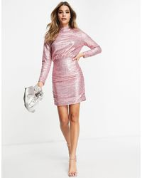Club L London Club L Sequin High Neck Sequin Mini Dress - Pink
