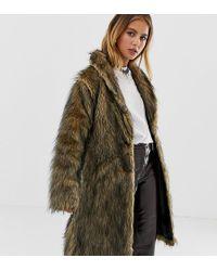 Reclaimed (vintage) Abrigo de piel sintética esponjosa - Marrón