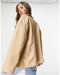 NA-KD Бежевая Куртка Из Искусственной Кожи С Накладными Карманами -нейтральный - Естественный