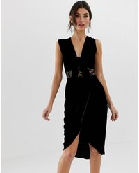 TFNC London Кружевное Платье Миди С Глубоким V-образным Вырезом - Черный