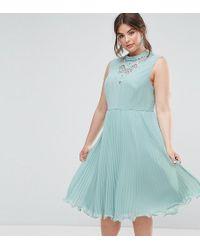 ASOS - Sleeveless Lace Insert Midi Dress - Lyst