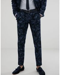 Moss Bros Moss London Slim Fit Suit Trousers With Floral Print - Blue