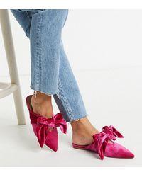 ASOS Letty - Ballerine pianta larga rosa con cinturino posteriore e fiocco