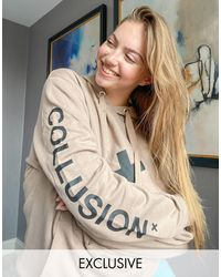 Collusion Unisex Logo Hoodie - Brown