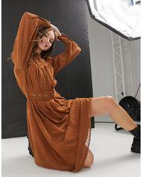 Object Button Detail Midi Dress - Brown