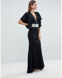 ASOS Red Carpet Deep Plunge Scuba Ruffle Sleeve Maxi Dress With Detachable Belt - Black