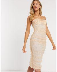 ASOS - Бледно-розовое Облегающее Платье Миди В Сеточку С Рюшами И Жемчугом - Lyst