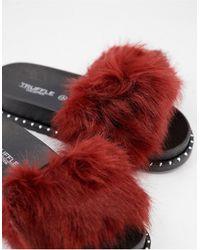 Truffle Collection Красные Слиперы Из Искусственного Меха -красный