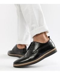 ASOS - Wide Fit Brogue Shoes In Black Leather With Wedge Sole - Lyst