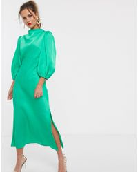 ASOS Cowl Neck Satin Tea Midi Dress With Puff Sleeve - Green