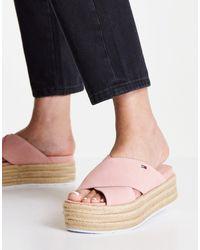 Tommy Hilfiger Criss Cross Mule Flatform Sandals - Pink