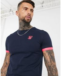 SIKSILK Muscle Fit T-shirt Met Neon Rand - Blauw
