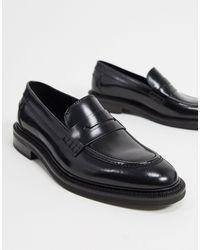 Reiss – Spey – Loafer aus schwarzem Leder