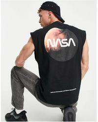 ASOS NASA - Canotta nera con stampa di pianeta sulla schiena - Nero