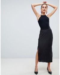 River Island - Plisse Midi Skirt In Black - Lyst