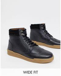Original Penguin Wide Fit Lace Up Leather Ankle Boots - Black