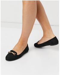 New Look Flat Suedette Loafer - Black