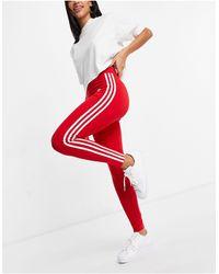 adidas Originals Красные Леггинсы С Завышенной Талией И Тремя Полосками Adicolor-красный