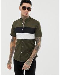 ASOS Slim-fit Overhemd Met Aangenaaide Stukken - Groen
