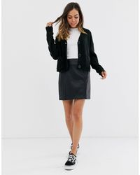 New Look Leather Look Mini Skirt - Black