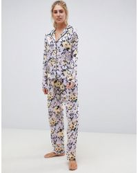 ASOS - Lilac Floral Traditional Pyjama Set In 100% Modal - Lyst