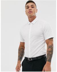 ASOS Wedding Stretch Slim Herringbone Shirt - White