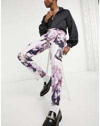 Twisted Tailor Узкие Льняные Брюки Пыльно-розового Цвета С Цветочным Принтом -розовый Цвет - Многоцветный