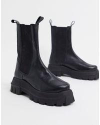 ASOS Aqum - Chelsea Boots Van Premium Leer Met Dikke Zool - Zwart